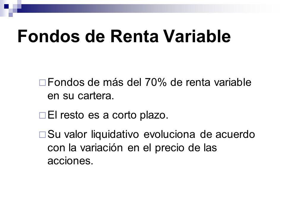 Fondos de Renta Variable Fondos de más del 70% de renta variable en su cartera. El resto es a corto plazo. Su valor liquidativo evoluciona de acuerdo