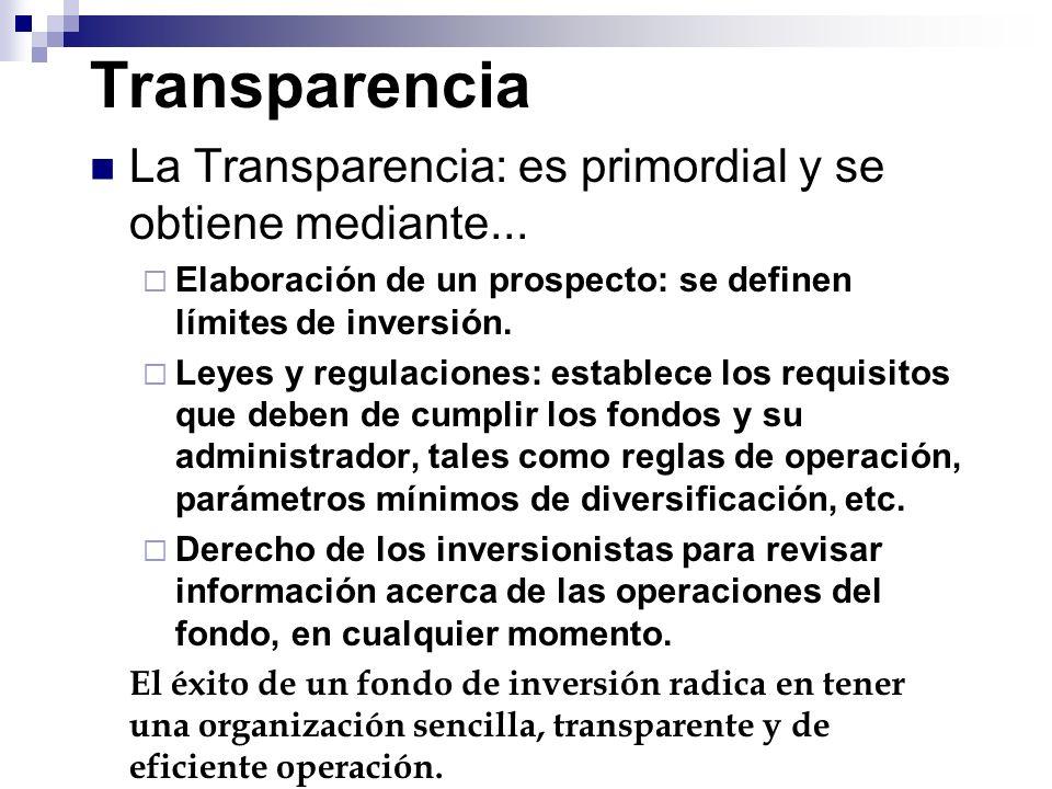 Transparencia La Transparencia: es primordial y se obtiene mediante... Elaboración de un prospecto: se definen límites de inversión. Leyes y regulacio