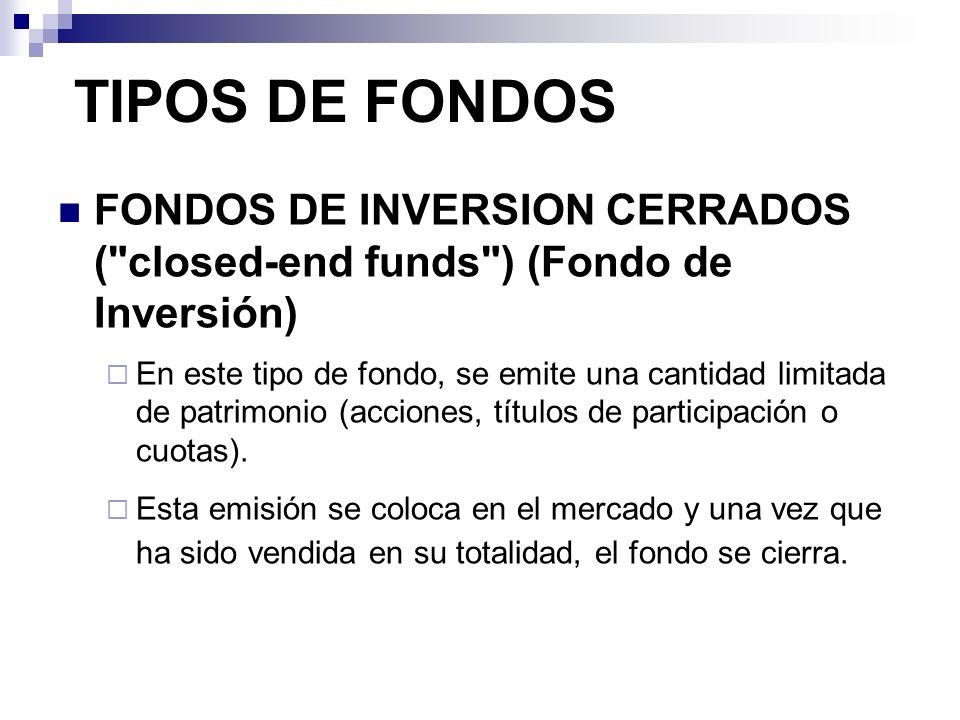 TIPOS DE FONDOS FONDOS DE INVERSION CERRADOS (