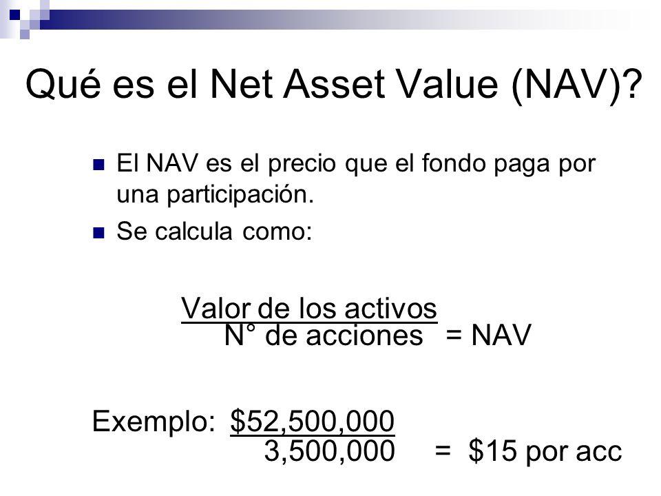 Qué es el Net Asset Value (NAV)? El NAV es el precio que el fondo paga por una participación. Se calcula como: Valor de los activos N° de acciones = N