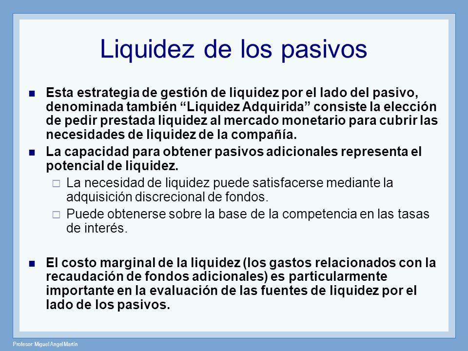 Profesor: Miguel Angel Martín Liquidez de los pasivos Algunos de los factores que afectan el número y tipo de pasivos administrables que el banco dispone son los siguientes: El grado de competencia y disponibilidad de fondos en el mercado del banco.