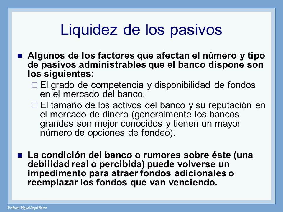 Profesor: Miguel Angel Martín Liquidez de los pasivos Algunos de los factores que afectan el número y tipo de pasivos administrables que el banco disp