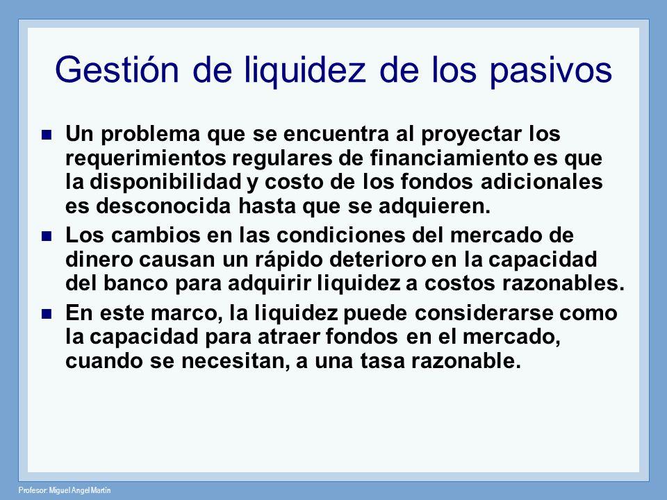 Profesor: Miguel Angel Martín Gestión de liquidez de los pasivos Un problema que se encuentra al proyectar los requerimientos regulares de financiamie