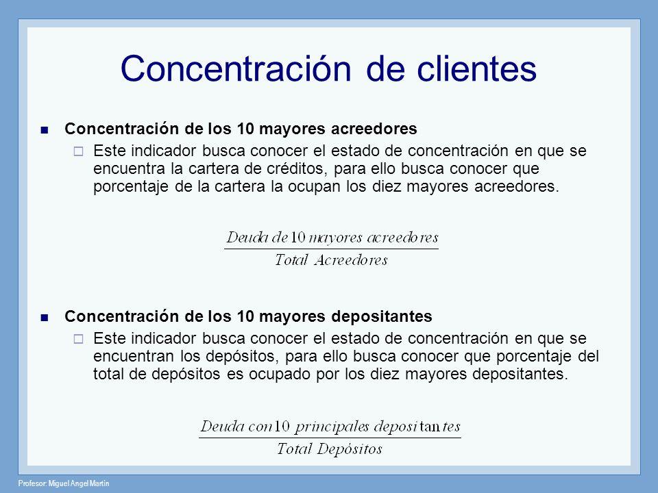 Profesor: Miguel Angel Martín Concentración de clientes Concentración de los 10 mayores acreedores Este indicador busca conocer el estado de concentra