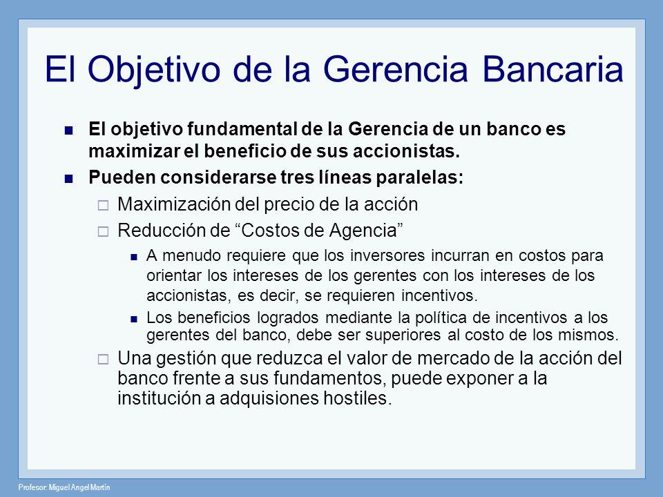 Profesor: Miguel Angel Martín El Objetivo de la Gerencia Bancaria El objetivo fundamental de la Gerencia de un banco es maximizar el beneficio de sus