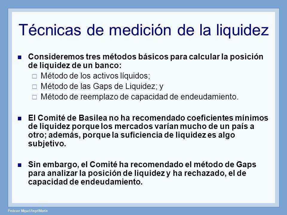 Profesor: Miguel Angel Martín Técnicas de medición de la liquidez Consideremos tres métodos básicos para calcular la posición de liquidez de un banco: