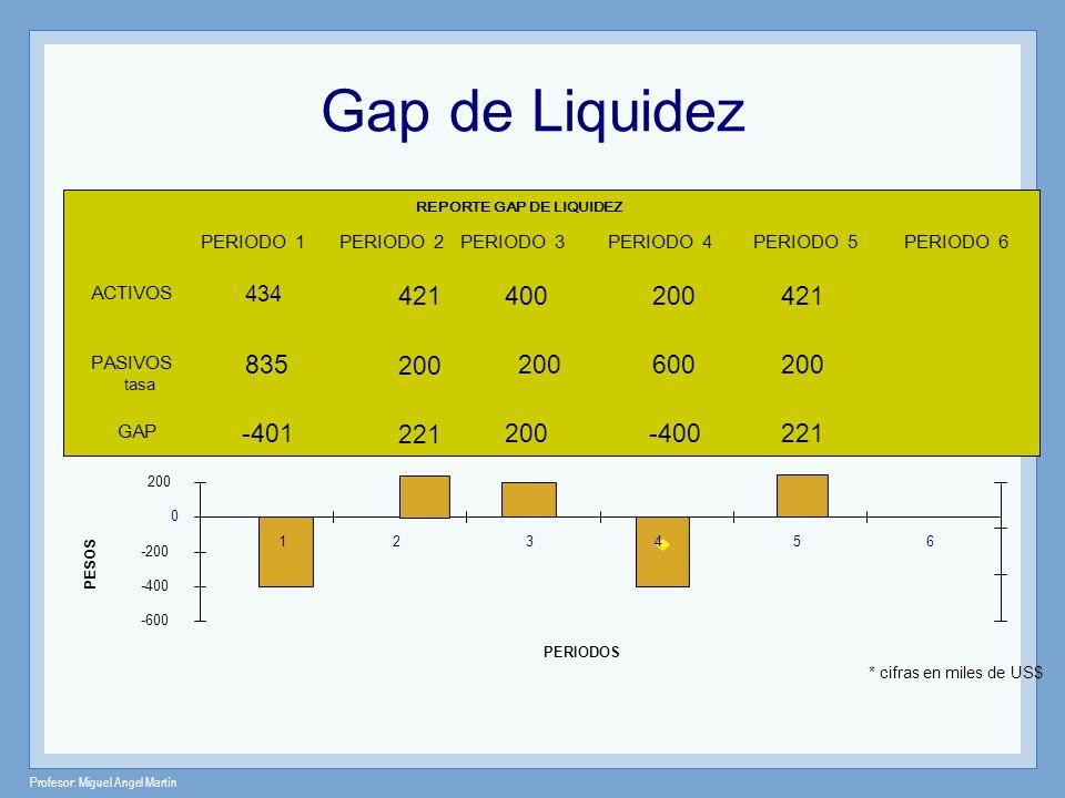 Profesor: Miguel Angel Martín * cifras en miles de US$ -600 -400 -200 0 200 2356 PERIODOS PESOS REPORTE GAP DE LIQUIDEZ PASIVOS ACTIVOS tasa GAP 1 PER