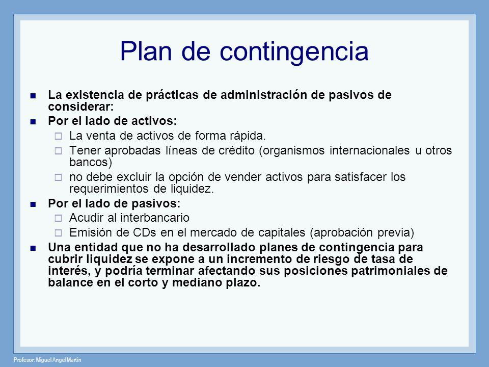 Plan de contingencia La existencia de prácticas de administración de pasivos de considerar: Por el lado de activos: La venta de activos de forma rápid