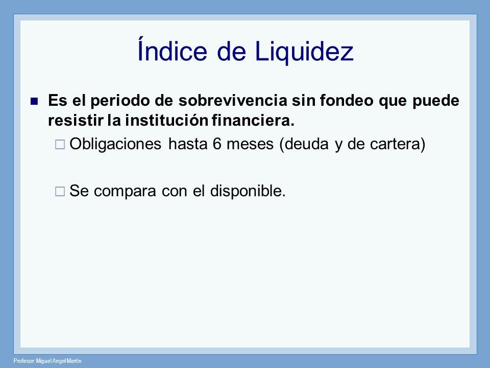 Profesor: Miguel Angel Martín Índice de Liquidez Es el periodo de sobrevivencia sin fondeo que puede resistir la institución financiera. Obligaciones