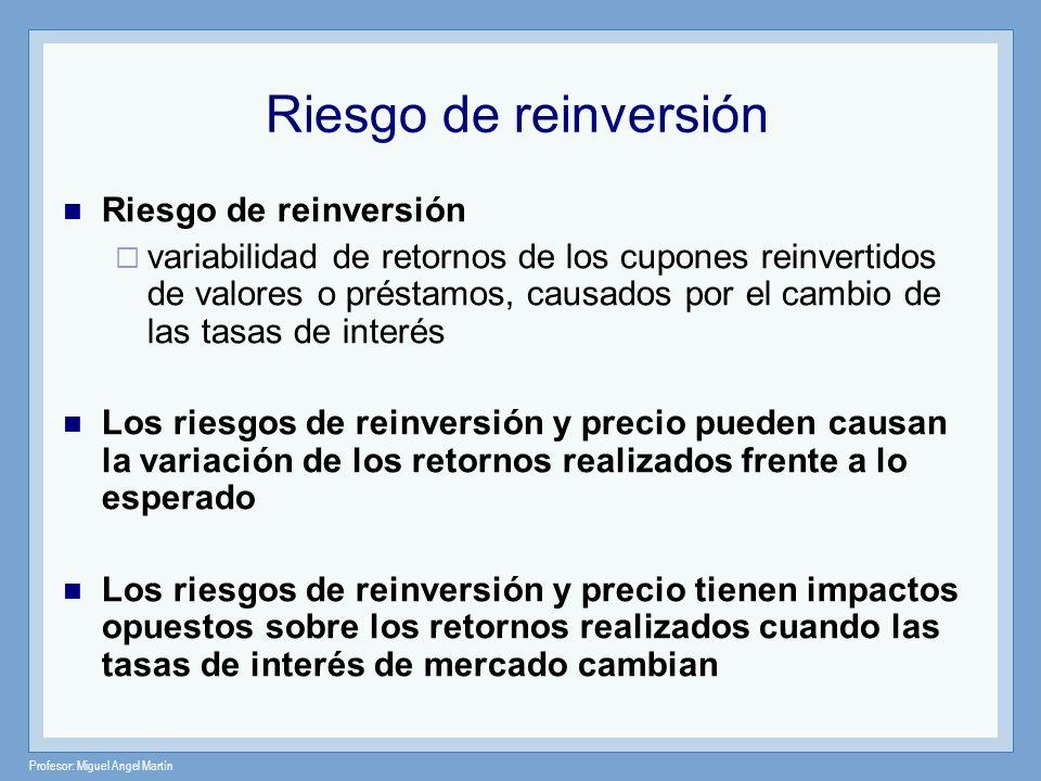 Profesor: Miguel Angel Martín Riesgo de reinversión variabilidad de retornos de los cupones reinvertidos de valores o préstamos, causados por el cambi