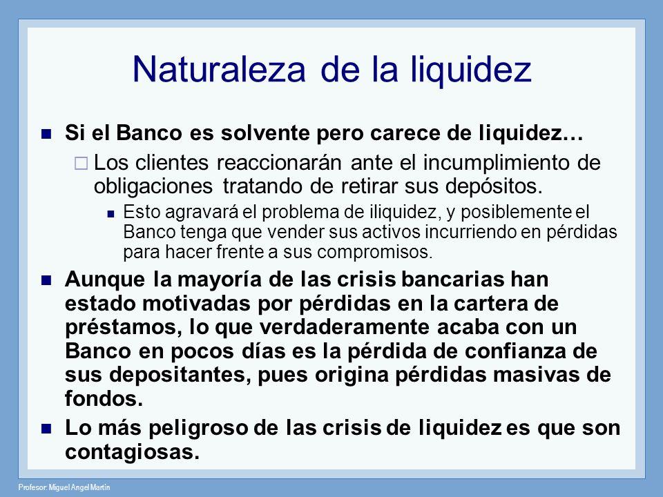 Profesor: Miguel Angel Martín Funciones de la liquidez Las funciones de la liquidez bancaria son: Demostrar al mercado, que es adverso al riesgo en términos globales, que la entidad es segura y por lo tanto capaz de hacer frente a sus obligaciones.