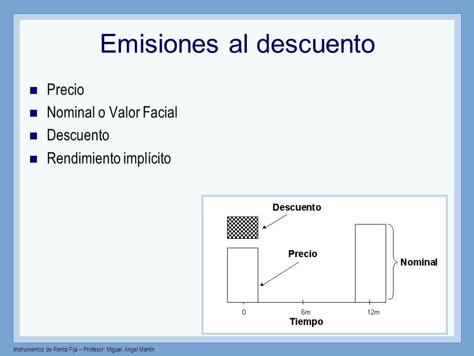 Instrumentos de Renta Fija – Profesor: Miguel Angel Martín Emisiones con cupón Precio Nominal o Valor Facial Cupón Rend.
