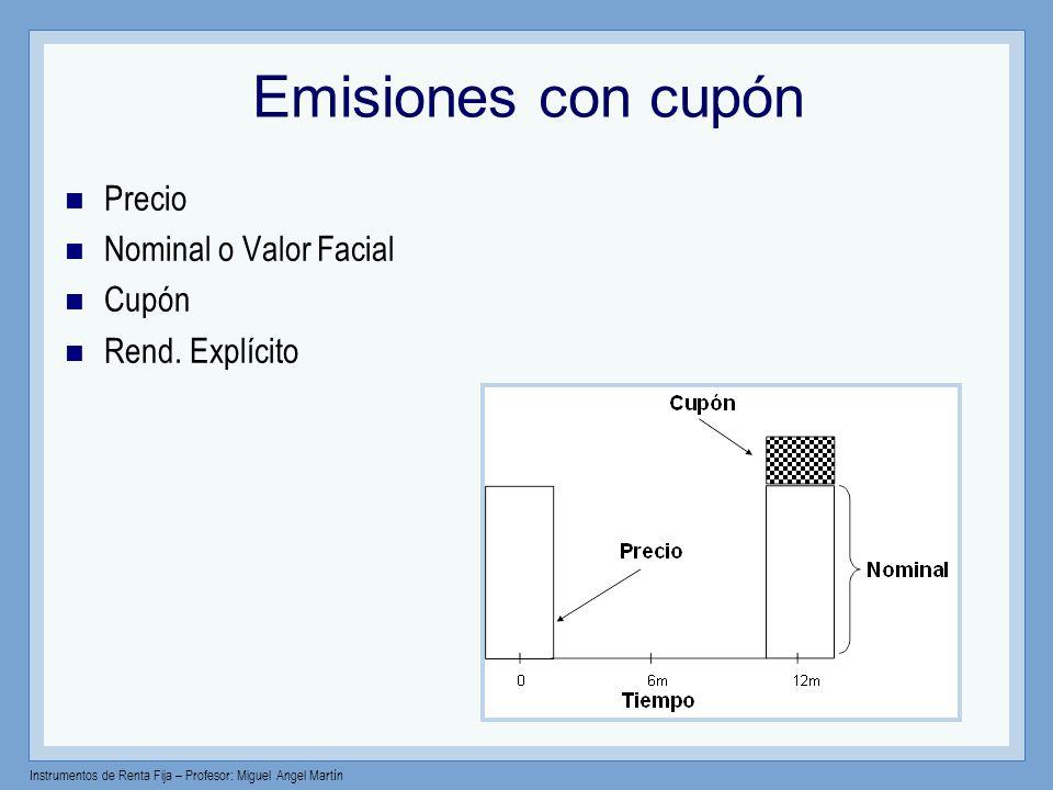 Instrumentos de Renta Fija – Profesor: Miguel Angel Martín Emisión al descuento Rendimiento simple Descuento simple anualizado