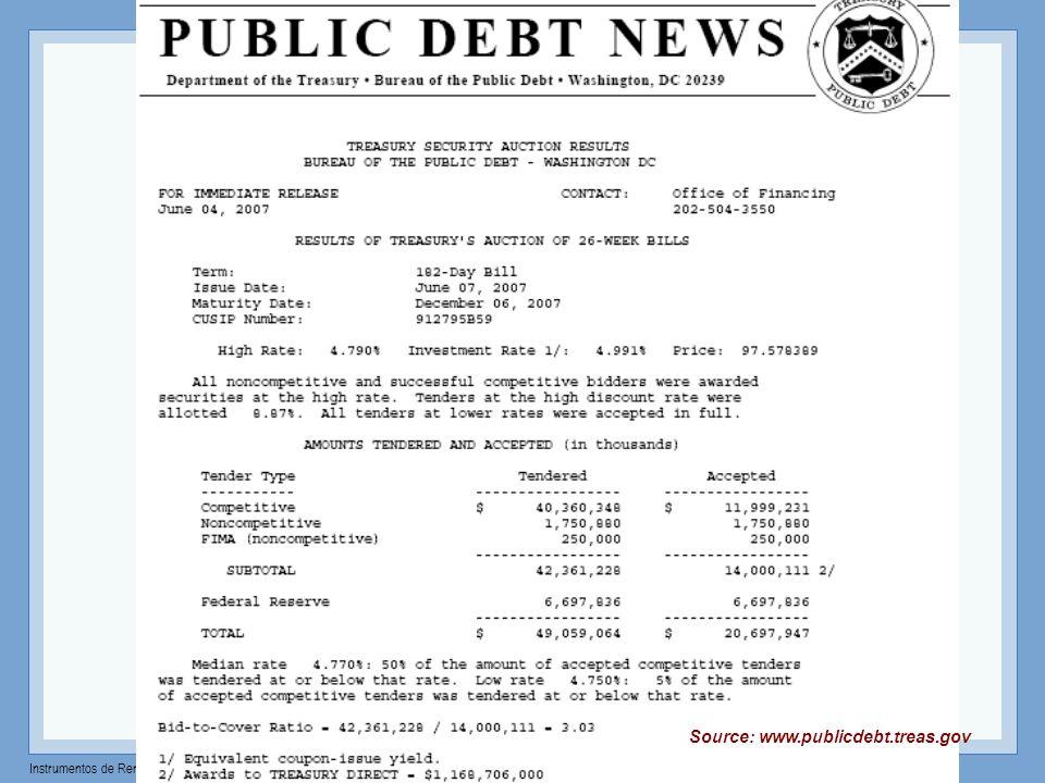 Instrumentos de Renta Fija – Profesor: Miguel Angel Martín Treasury Auctions cantidad T-bills Bid Price (%) 1 2 3 4 5 6 7 competitivastotal 99.6633222% Stop yield $15,522 mill $15,761 mill winnersperdedores