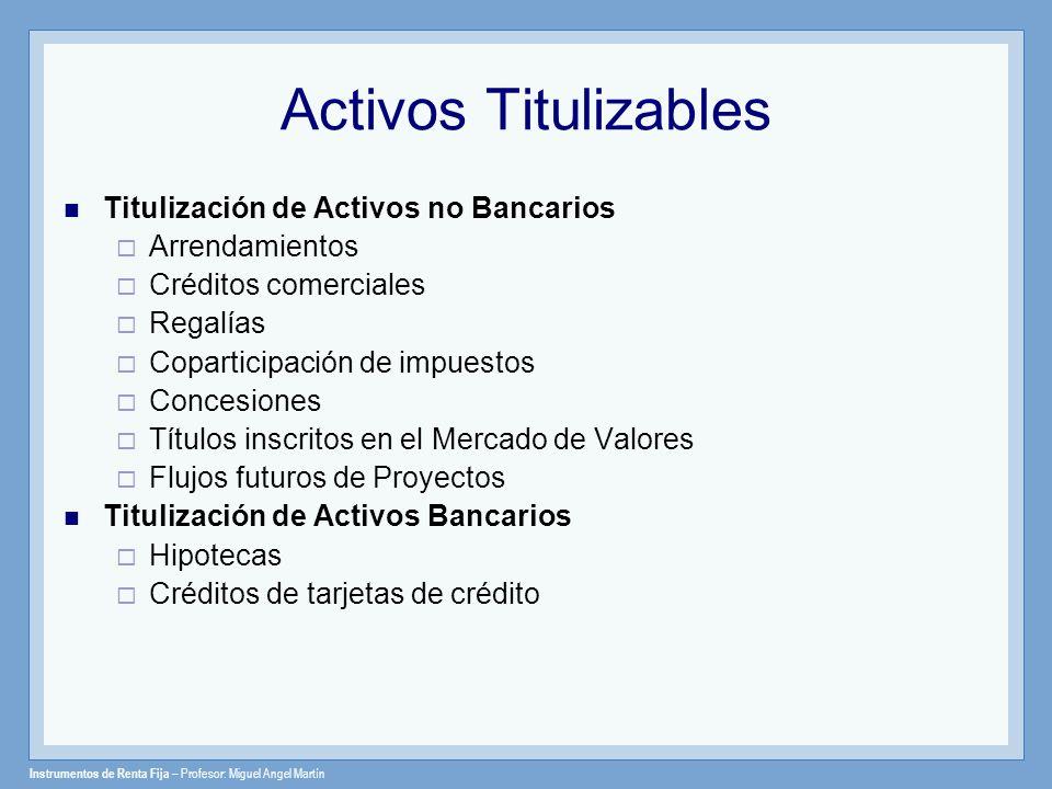 Instrumentos de Renta Fija – Profesor: Miguel Angel Martín Activos Titulizables Titulización de Activos no Bancarios Arrendamientos Créditos comercial