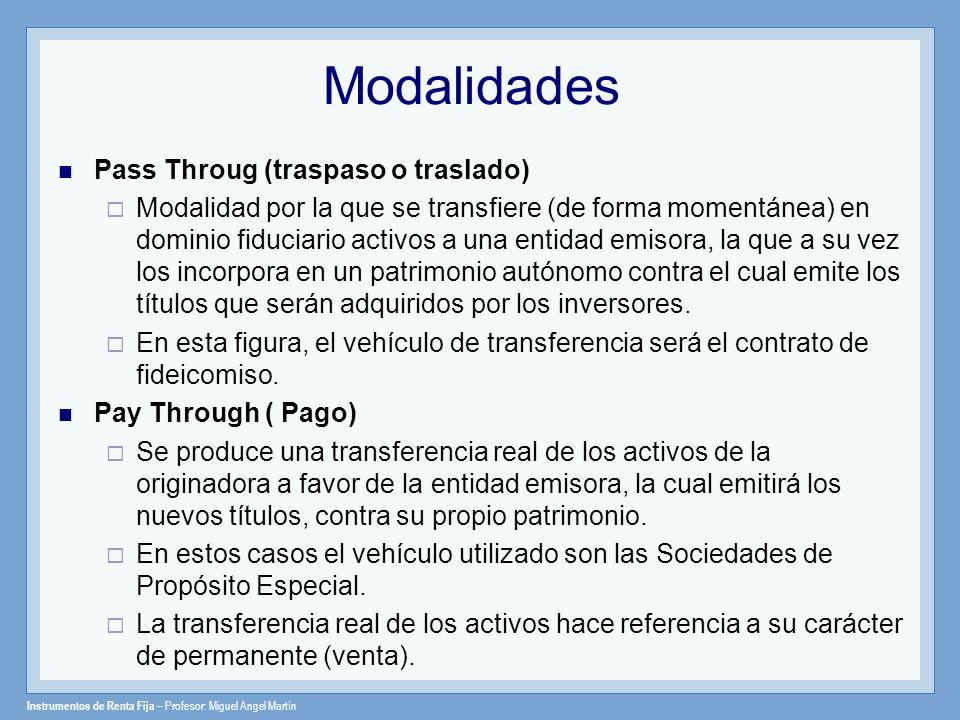 Instrumentos de Renta Fija – Profesor: Miguel Angel Martín Modalidades Pass Throug (traspaso o traslado) Modalidad por la que se transfiere (de forma