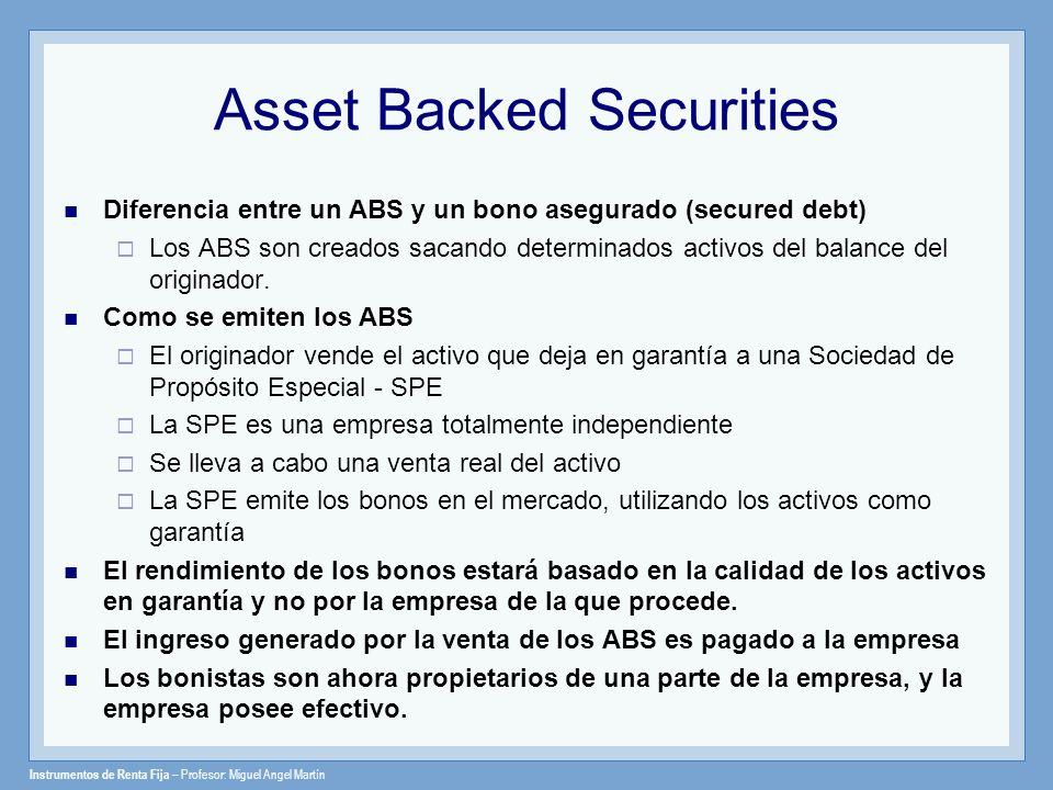 Instrumentos de Renta Fija – Profesor: Miguel Angel Martín Asset Backed Securities Diferencia entre un ABS y un bono asegurado (secured debt) Los ABS