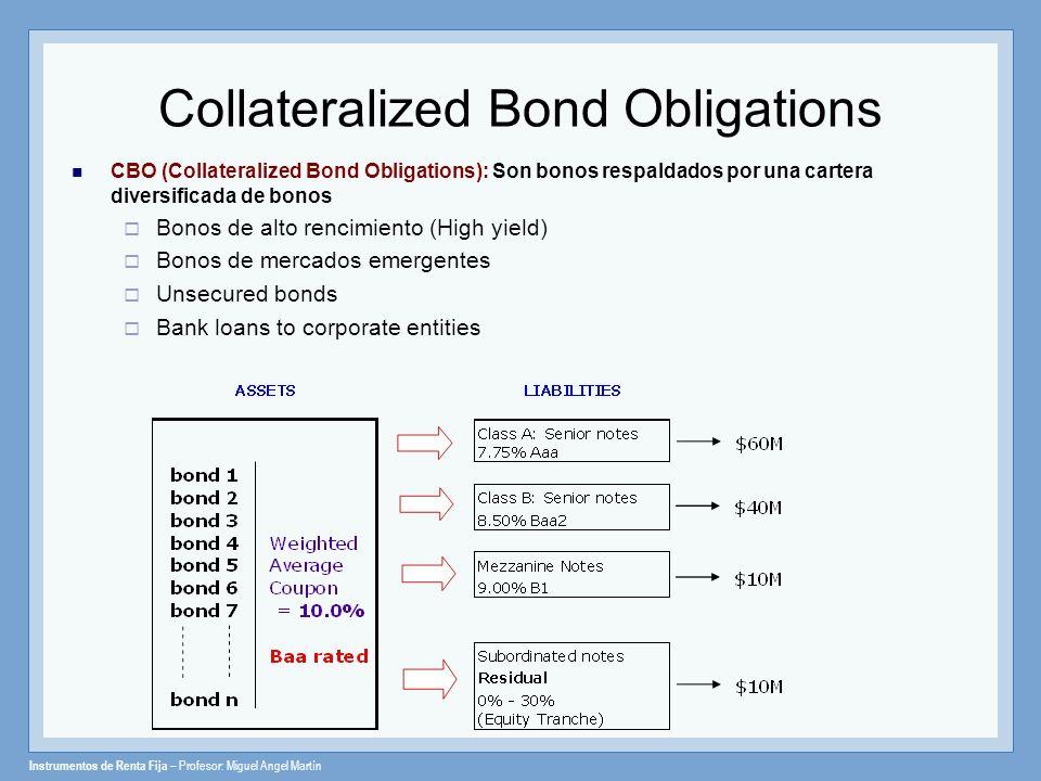 Instrumentos de Renta Fija – Profesor: Miguel Angel Martín Collateralized Bond Obligations CBO (Collateralized Bond Obligations): Son bonos respaldado