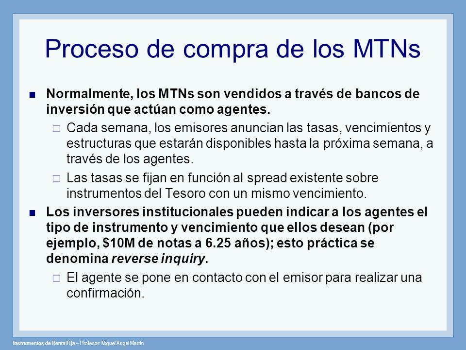 Instrumentos de Renta Fija – Profesor: Miguel Angel Martín Proceso de compra de los MTNs Normalmente, los MTNs son vendidos a través de bancos de inve