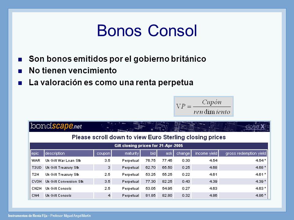 Bonos Consol Son bonos emitidos por el gobierno británico No tienen vencimiento La valoración es como una renta perpetua