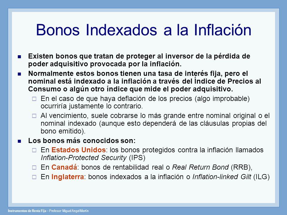 Instrumentos de Renta Fija – Profesor: Miguel Angel Martín Treasury Inflation-Protected Securities (TIPS) Los TIPS son bonos cuyo principal se ajusta a los cambios del IPC Consumer Price Index