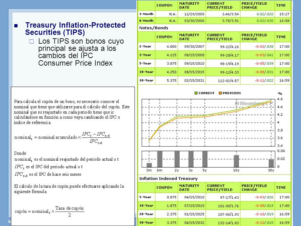 Instrumentos de Renta Fija – Profesor: Miguel Angel Martín Treasury Inflation-Protected Securities (TIPS) Los TIPS son bonos cuyo principal se ajusta