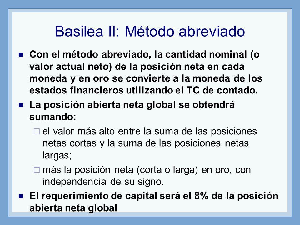 Basilea II: Método abreviado Con el método abreviado, la cantidad nominal (o valor actual neto) de la posición neta en cada moneda y en oro se convier