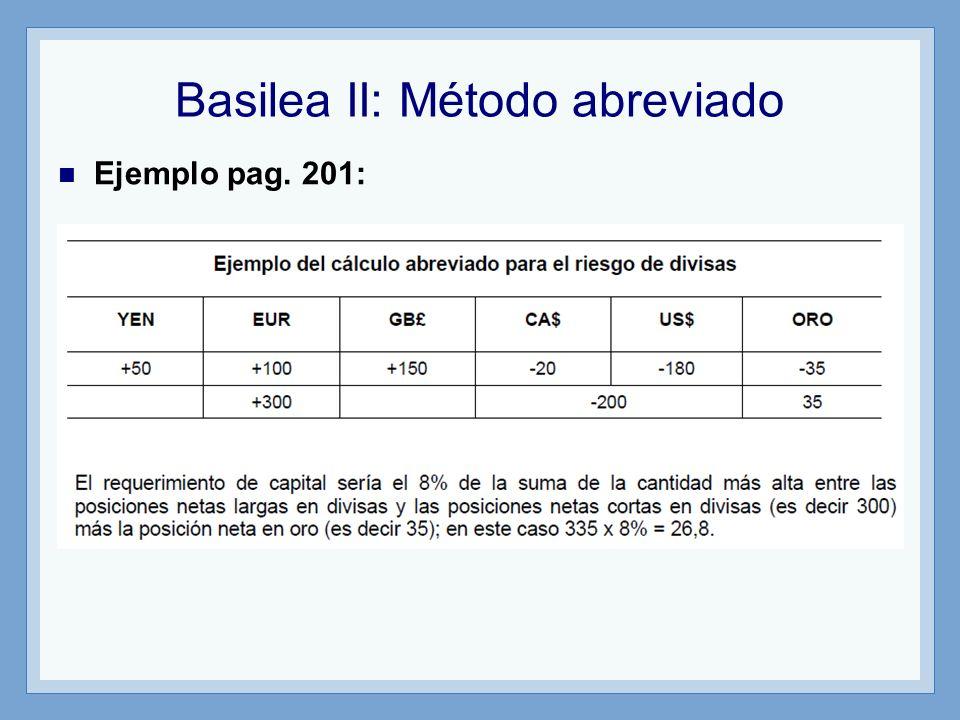 Basilea II: Método abreviado Ejemplo pag. 201:
