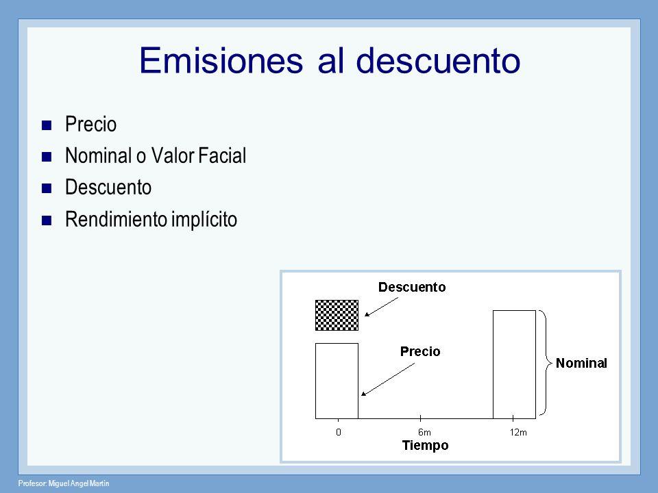Profesor: Miguel Angel Martín Emisiones al descuento Precio Nominal o Valor Facial Descuento Rendimiento implícito