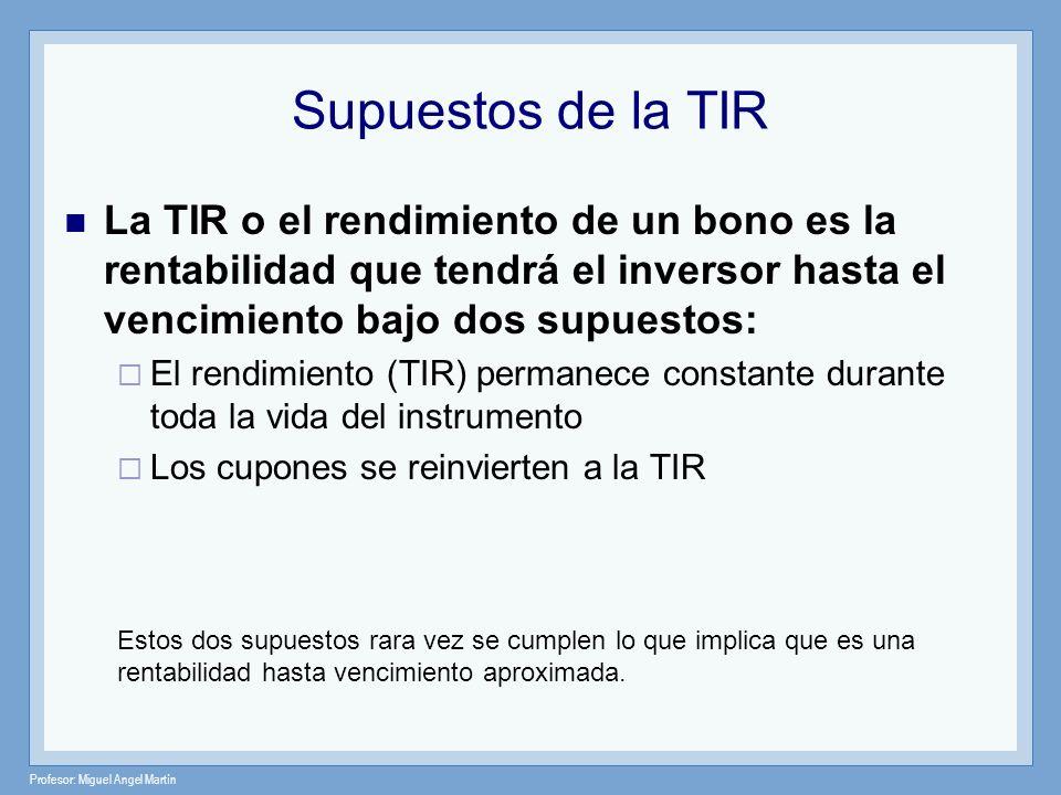 Profesor: Miguel Angel Martín Supuestos de la TIR La TIR o el rendimiento de un bono es la rentabilidad que tendrá el inversor hasta el vencimiento ba