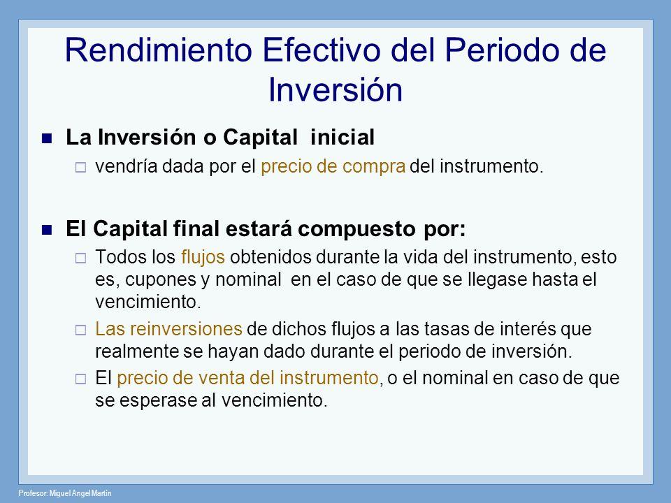 Profesor: Miguel Angel Martín Rendimiento Efectivo del Periodo de Inversión La Inversión o Capital inicial vendría dada por el precio de compra del in