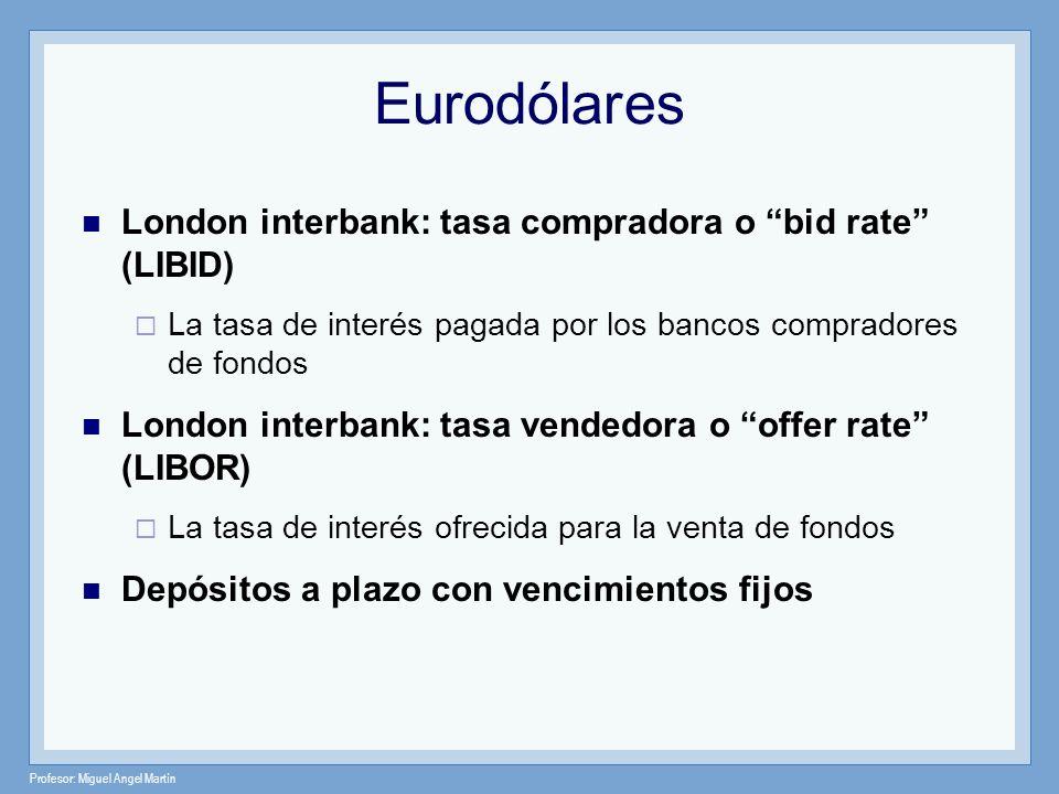 Profesor: Miguel Angel Martín Eurodólares London interbank: tasa compradora o bid rate (LIBID) La tasa de interés pagada por los bancos compradores de