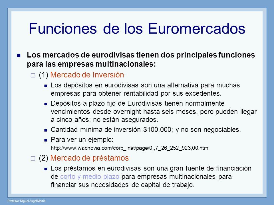 Profesor: Miguel Angel Martín Los mercados de eurodivisas tienen dos principales funciones para las empresas multinacionales: (1) Mercado de Inversión