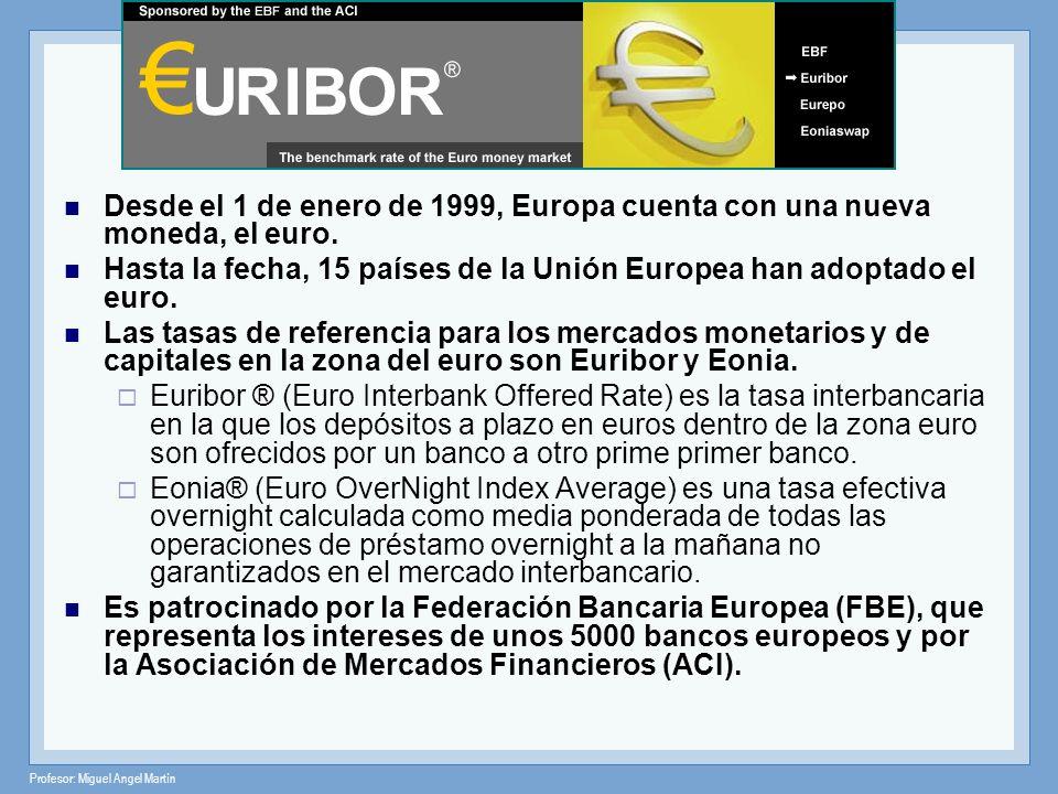 Profesor: Miguel Angel Martín Desde el 1 de enero de 1999, Europa cuenta con una nueva moneda, el euro. Hasta la fecha, 15 países de la Unión Europea