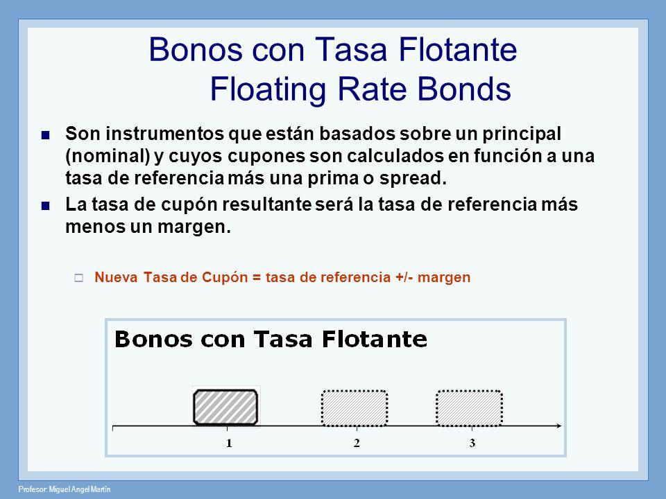 Profesor: Miguel Angel Martín Bonos con Tasa Flotante Floating Rate Bonds Son instrumentos que están basados sobre un principal (nominal) y cuyos cupo