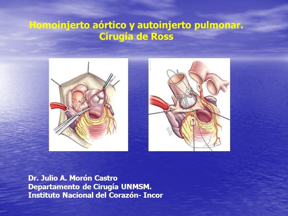 Homoinjerto aórtico y autoinjerto pulmonar. Cirugía de Ross Dr. Julio A. Morón Castro Departamento de Cirugía UNMSM. Instituto Nacional del Corazón- I