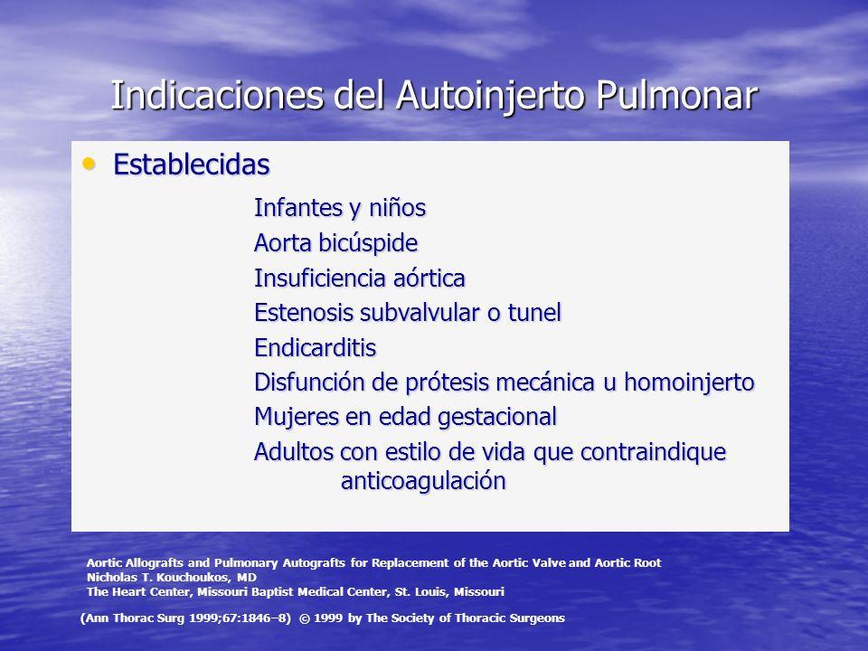 Indicaciones del Autoinjerto Pulmonar Establecidas Establecidas Infantes y niños Aorta bicúspide Insuficiencia aórtica Estenosis subvalvular o tunel E