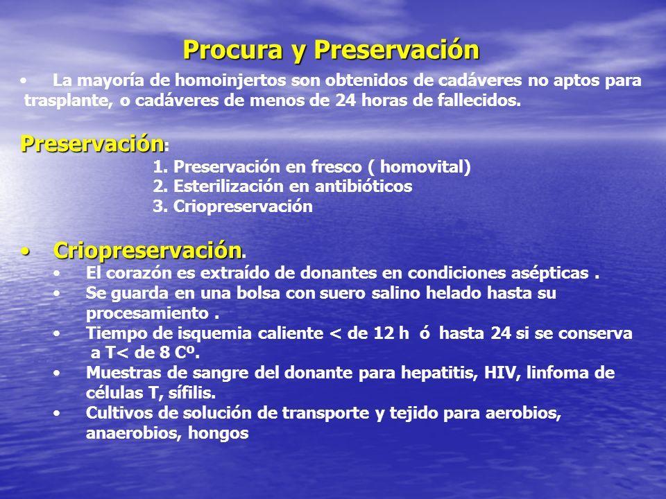 Procura y Preservación La mayoría de homoinjertos son obtenidos de cadáveres no aptos para trasplante, o cadáveres de menos de 24 horas de fallecidos.