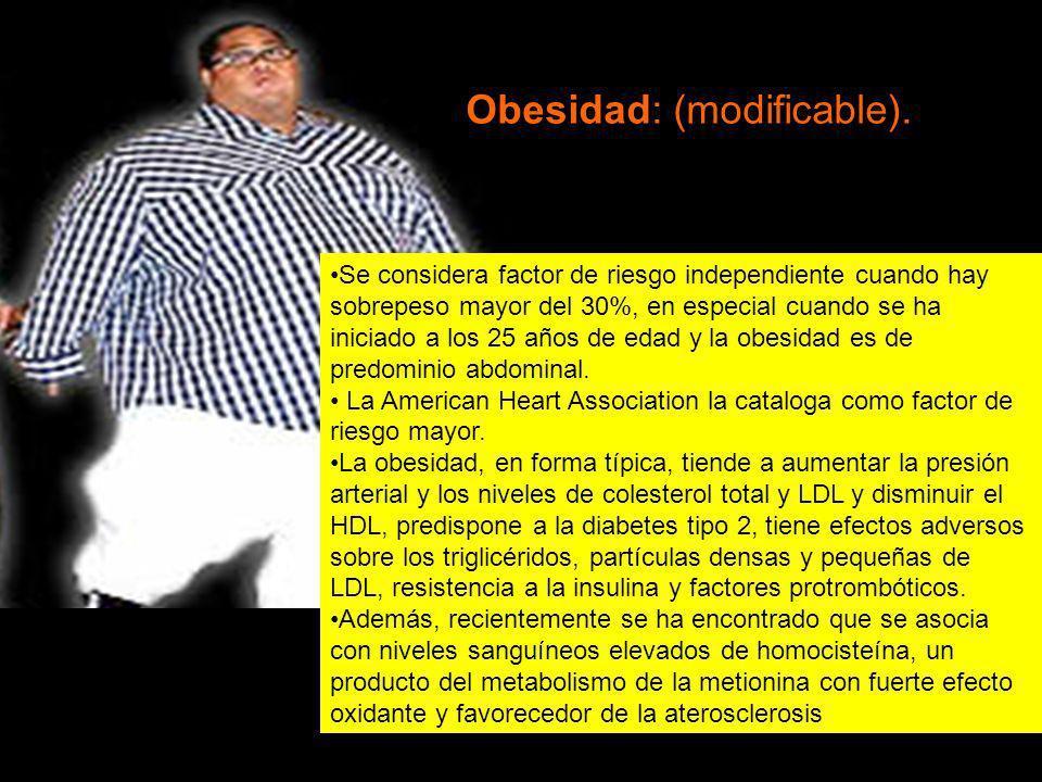 Se considera factor de riesgo independiente cuando hay sobrepeso mayor del 30%, en especial cuando se ha iniciado a los 25 años de edad y la obesidad