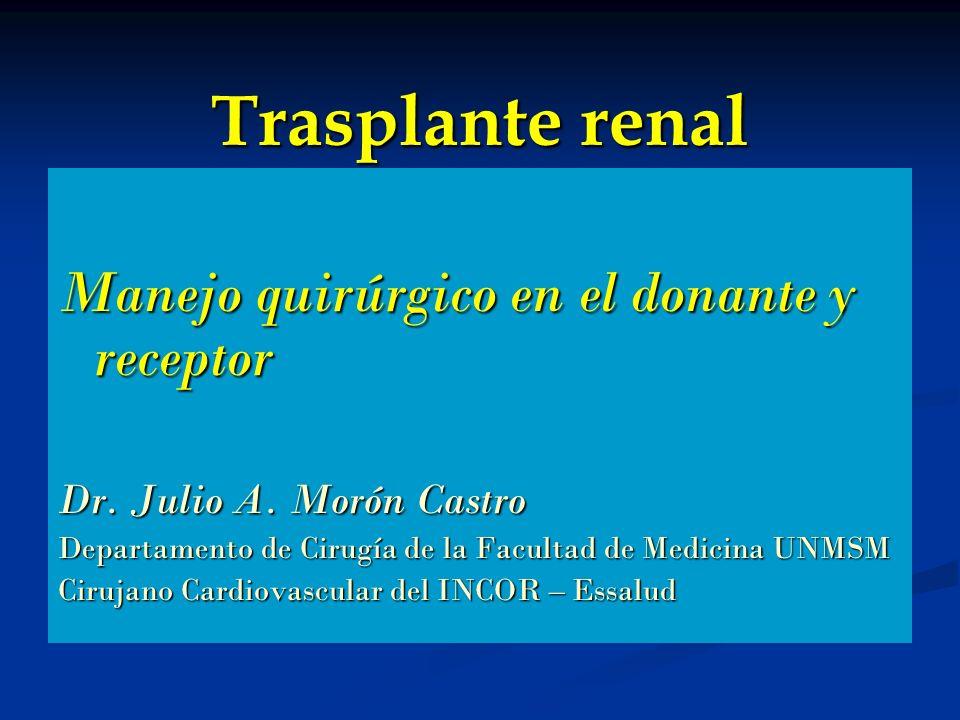 Trasplante renal Manejo quirúrgico en el donante y receptor Dr. Julio A. Morón Castro Departamento de Cirugía de la Facultad de Medicina UNMSM Cirujan