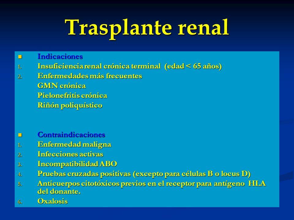 Trasplante renal Indicaciones Indicaciones 1. Insuficiencia renal crónica terminal (edad < 65 años) 2. Enfermedades más frecuentes GMN crónica Pielone