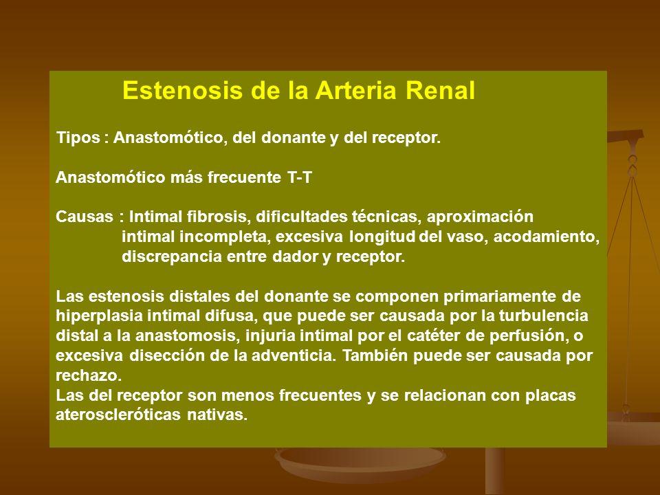 Estenosis de la Arteria Renal Tipos : Anastomótico, del donante y del receptor. Anastomótico más frecuente T-T Causas : Intimal fibrosis, dificultades