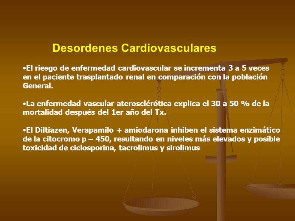 Desordenes Cardiovasculares El riesgo de enfermedad cardiovascular se incrementa 3 a 5 veces en el paciente trasplantado renal en comparación con la p