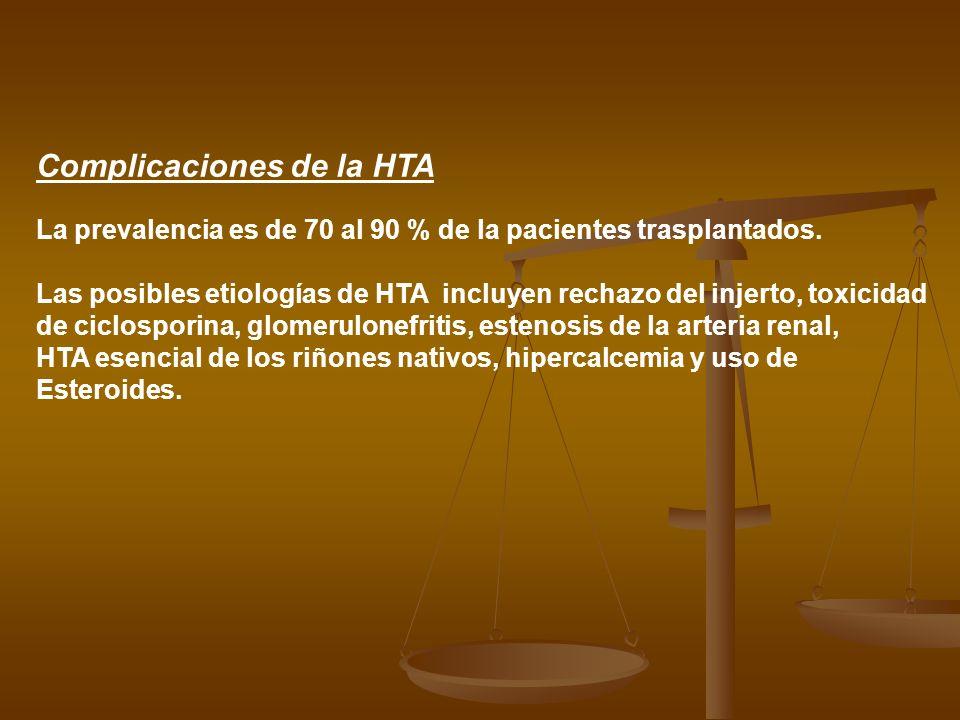 Complicaciones de la HTA La prevalencia es de 70 al 90 % de la pacientes trasplantados. Las posibles etiologías de HTA incluyen rechazo del injerto, t