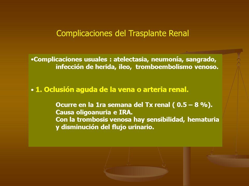 Complicaciones del Trasplante Renal Complicaciones usuales : atelectasia, neumonía, sangrado, infección de herida, ileo, tromboembolismo venoso. 1. Oc