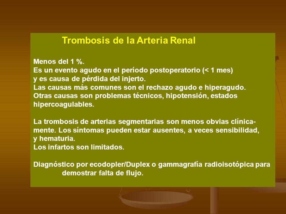 Trombosis de la Arteria Renal Menos del 1 %. Es un evento agudo en el período postoperatorio (< 1 mes) y es causa de pérdida del injerto. Las causas m
