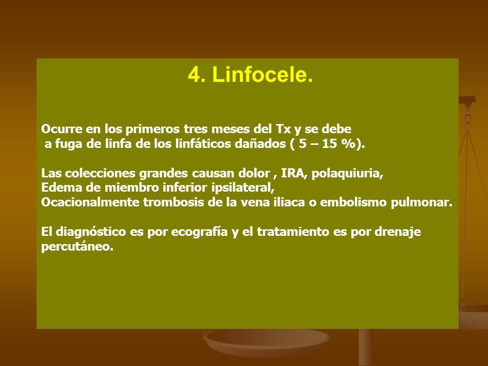 4. Linfocele. Ocurre en los primeros tres meses del Tx y se debe a fuga de linfa de los linfáticos dañados ( 5 – 15 %). Las colecciones grandes causan