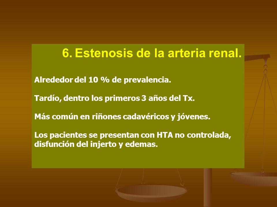 6. Estenosis de la arteria renal. Alrededor del 10 % de prevalencia. Tardío, dentro los primeros 3 años del Tx. Más común en riñones cadavéricos y jóv