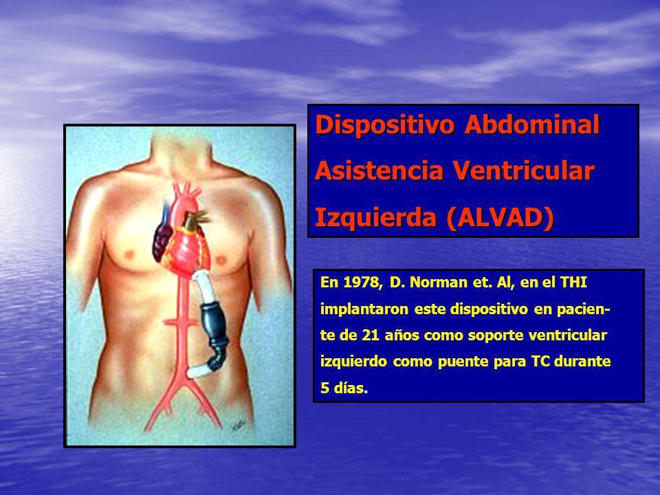 Dispositivo Abdominal Asistencia Ventricular Izquierda (ALVAD) En 1978, D. Norman et. Al, en el THI implantaron este dispositivo en pacien- te de 21 a