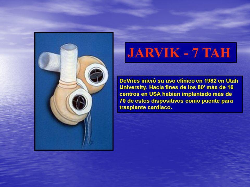 DeVries inició su uso clínico en 1982 en Utah University. Hacia fines de los 80 más de 16 centros en USA habían implantado más de 70 de estos disposit